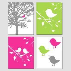 Modern Baby Bird Quad - Set of Four 8x10 Prints - Modern Nursery - Yellow, Gray, Hot Pink, Apple Green, Red Orange, and More. $65.00, via Etsy.