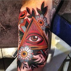 Gordon Combs completed this awesome piece. #inked #inkedmag #tattoo #gorgeous #eye #illuminati #floral