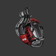 Audi Heart concept by Aniruddha Lele, via Behance Motor Tattoo, Joker Cartoon, Engine Tattoo, Mechanic Tattoo, Pop Art Wallpaper, Audi Rs3, Heart Tattoo Designs, Futuristic Art, Anatomical Heart