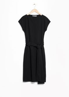 & Other Stories image 1 of Cotton Blend Belted Dress in Black