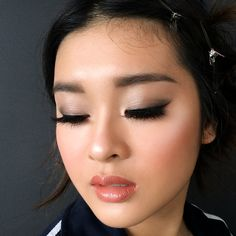 Strobing asian makeup artist in sydney wedding makeup asian Asian Makeup Prom, Asian Wedding Makeup, Asian Makeup Looks, Makeup Looks For Brown Eyes, Formal Makeup, Wedding Hair And Makeup, Hair Makeup, Bridal Hair, Prom Makeup