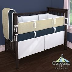 Crib bedding in White Pimatex, Gold Houndstooth, Solid Navy Minky. Created using the Nursery Designer® by Carousel Designs where you mix and match from hundreds of fabrics to create your own unique baby bedding. #carouseldesigns