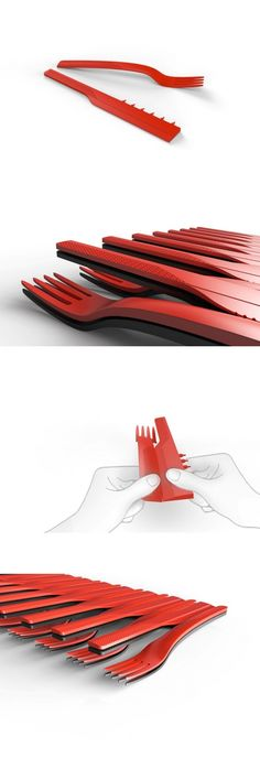 We don't often imagine disposable cutlery as being the easiest on the eyes, but Uria Graiver's Knife & Fork will bring style and convenience to your next picnic. Flat-pack-ready, the set comes attached so the user can easily snap off the desired number of utensils. This makes it super-easy to store and keep organized rather than go fishing the next time you need a fork or #knife! #Cutlery #YankoDesign #Kitchen #Tableware