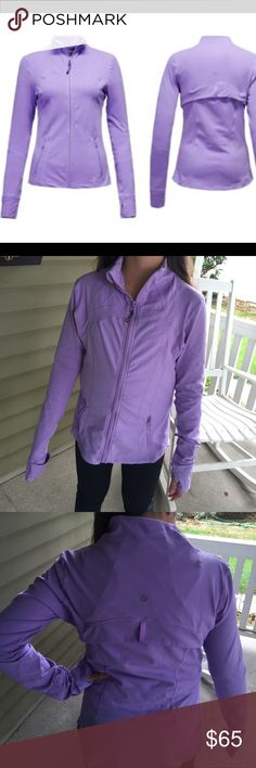 LuluLemon define fitted yoga jacket - rare color Lululemon Athleticà define zip up jacket! Light weight and has some stretch to it! It is in EXCELLENT condition. All the zippers work. The sleeves have thumb holes or they can be folded over to keep your hands from the elements and to help keep them warm! Rare purple color. lululemon athletica Jackets & Coats