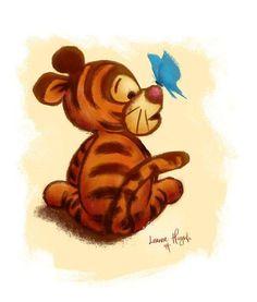 Winnie the Pooh - Baby Tigger Art Illustration Print - Trend Zeichnungen Frauen 2020 Cute Disney Drawings, Cartoon Drawings, Cute Drawings, Winnie Poo, Pooh Baby, Baby Cartoon Characters, Winnie The Pooh Drawing, Pinturas Disney, Winnie The Pooh Friends