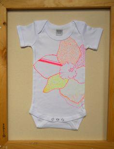 Neon Daffodil Flower Onesie for Baby Girl neon by seadogdesign,