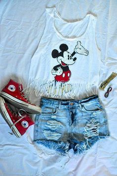 Mickey Mouse outfit with denim shorts and red converse