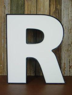Letter R Capital R 15 Inch Metal Channel by BackroadAntiquities