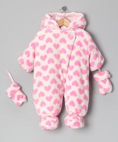 Pink Heart Plush Bunting & Mittens - Infant