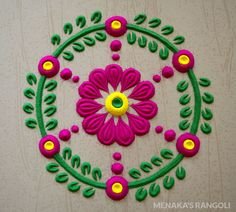 50 Kamada Ekadashi Rangoli Design (ideas) that you can make yourself or get it made during any occasion on the living room or courtyard floors. Simple Rangoli Designs Images, Rangoli Designs Latest, Rangoli Designs Flower, Small Rangoli Design, Rangoli Designs With Dots, Rangoli Designs Diwali, Beautiful Rangoli Designs, Kolam Designs, Henna Designs