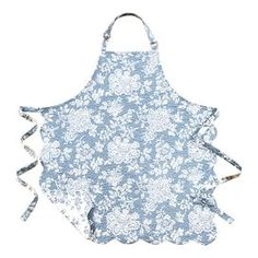 """Quilted cotton apron with a double-sided floral design in blue.  Product: ApronConstruction Material: CottonColor: BlueDimensions: 29"""" x 31"""" Cleaning and Care: Machine washable"""