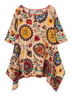 Women O-Neck Totem Printing Irregular Cotton Linen Dress