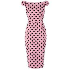 Lindy Bop Tabby Pink Polka Dot Off Shoulder Wiggle Dress