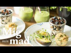Brunch med blåbærtrifli, avocado og muffins - se opskrift