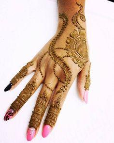 Superb Back Hand Mehndi Design with Half Sunflower Corner