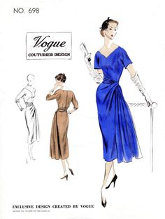 1950s afternoon dress with flattering V neckline, fitted waist, and an elegant side gathered drape that wraps around waist and falls into a cascade of pleats at side left front. Sleeves in short or 3/4 length. Bust 34 Waist 28 Hip 37 ★ ★ ★ ★ ★ ★ ★ ★ You will receive a high quality reproduction with full scale pattern pieces printed on white paper. This is a clean, computer drafted file printed to actual size. Instructions are included. Lady Marlowe 2017. All rights reserved. ★ ★ ★ ★ ★...