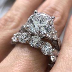 Round Solitaire Diamond Bridal Set White Gold Over Engagement Wedding Ring 2 CT #tvsjewelery #WeddingEngagementAnniversaryBridalSet