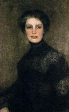 """""""Portrait of Wanda Kulakowska"""" (1906-07) by Józef Pankiewicz (Polish, 1866- 1940); oil on canvas, 76.5 x 51 cm, National Museum, Warsaw"""