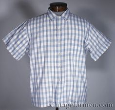 Vintage 50s Donegal Blue Grey Gingham Check Cotton Loop Collar Shirt #vintageformen #vintage #vintageshirt #vintagemenswear #mensvintage