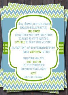 Modern Chevron Baby Sprinkle, Baby Shower, or Sip n See Invitation -- Baby boy or Girl baby -- Custom Printable. $12.00, via Etsy.