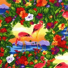 by Martha Collins from Flamingo Paradise: Robert Kaufman Fabric Company Flamingo Art, Pink Flamingos, Beach Quilt, Online Craft Store, Fabric Patterns, Fabric Crafts, Printing On Fabric, Cool Art, Art Photography