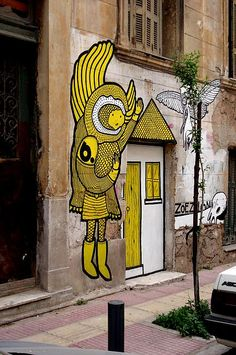 Street art graffiti Angel, b. & ZOE ZILLION, Athens