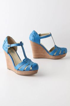 Blue closed toe wedge sandals