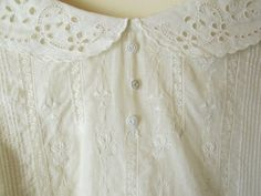 White Edwardian Blouse with Broderie Anglais Collar, Embroidered Bodice Front & Tiny Buttons ....