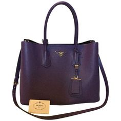 Pre-owned Double Handle Tote Bag (46 570 UAH) ❤ liked on Polyvore featuring bags, handbags, tote bags, violet, purple leather handbags, leather totes, prada tote, genuine leather tote and leather tote handbags