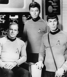 Sept. 8, 1966: Liftoff for the Starship Enterprise - Kirk (William Shatner), Bones (DeForest Kelley), and Spock (Leonard Nimoy) all appeared in Star Trek: The Original Series.  Courtesy CBS Paramount Television