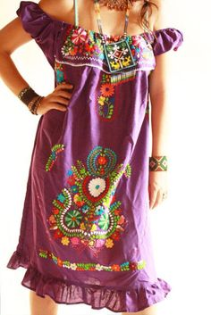 Handmade Mexican embroidered dresses and vintage treasures from Aida Coronado Purple Mexican embroidered dress - Aida Coronado store A heart in every piece