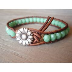 "- I adore this bracelet! - Boho leather wrap bracelet, ""Country Girl"", Shabby chic, turquoise, silver daisy flower, featured in ETSY FASHION Ultimate Jewelry Guide (39.00) - found on Polyvore -"