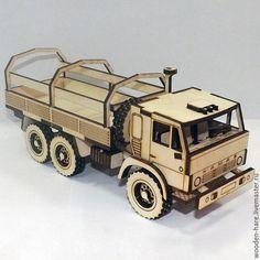 Купить Камаз из фанеры. Армейский бортовой тягач с тентом. - камаз, деревянная модель, фанера