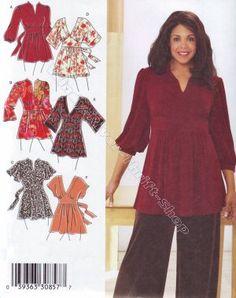 3697 Simplicity Six Women's Blouses size 26 28 30 32 - 3x 4x 5x Sewing Pattern