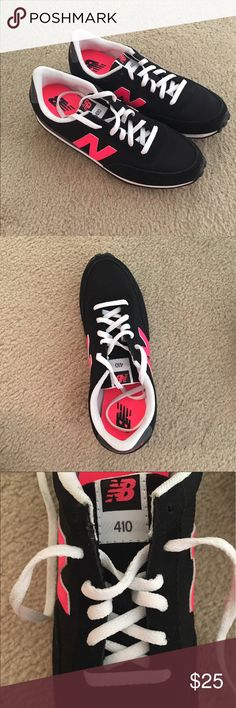 NWOT New Balance Shoes New without box. Never worn. Black exterior with pink new balance symbol on sides. Hot pink interior with slight lift in heel. White laces. New Balance Shoes Athletic Shoes