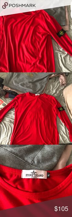 Stone Island Men's long sleeve This has only been worn a few times. Authentic Stone Island Men's XL long sleeve in red, fits like a men's medium-large. Stone Island Shirts Tees - Long Sleeve