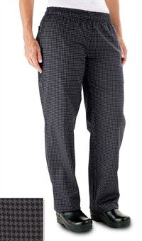 Womens Chef Pants Houndstooth Gray by ChefUniforms.com Style # 5601HTG #chefuniforms #womensclothing #womenschefwear #chef #chefpant #pant #gray #houndstooth