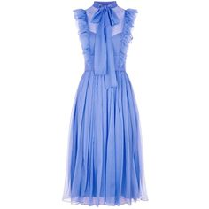 No. 21 Silk Pussybow Dress ($1,520) ❤ liked on Polyvore featuring dresses, silk dress, blue slip, flounce dress, silk slip dresses and frilly dresses