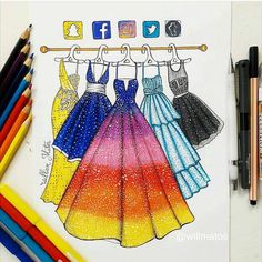 I'm really fan of those social media drawings I can't choose which dress I would bought if possible, they're all so beautiful and goals! Which one would you choose? App Drawings, Disney Drawings, Art Sketches, Amazing Drawings, Cute Drawings, Amazing Artwork, Social Media Art, Fashion Design Drawings, Fashion Sketches