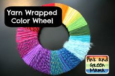 Pink and Green Mama: Anytime Craft: Rainbow Yarn Wrapped Color Wheel