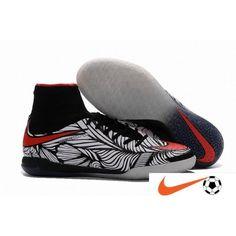 classic fit 18f7a eb5a2 Soldes Nike HypervenomX Proximo Neymar IC Noir Blanc Bright Crimson Indoor  Chaussure De Foot