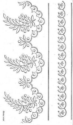 Embroidery Flowers Pattern, Hand Embroidery Stitches, Vintage Embroidery, Border Embroidery Designs, Free Machine Embroidery Designs, Bordado Popular, Fabric Paint Designs, Jewelry Design Drawing, Motif Floral