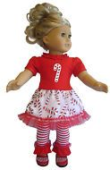 "Christmas Glitter Candy Cane Outfit for 18"" American Girl Doll Clothes Holiday"