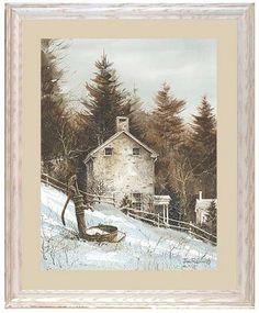Americana Landscape John Rossini Stone House Art Print Framed