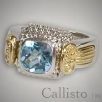 Fourteen karat yellow gold and sterling silver interchangeable gemstone ring for square bezel with sterling body and yellow gold wings with yellow gold tips on sides. Shown with a blue topaz bezel. Bezels are sold seperately. Design is Callisto. Designer:Goldman-Kolber $ 770.00 Item #: SPNLTY Call 870-863-8818 for personal consultation.
