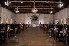 Rustic ceremony set up and backdrop | Modern Blue And Yellow Phoenix, Arizona Gay Wedding | Equally Wed - LGBTQ Weddings