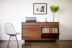 cool record storage. reminds me that I wish I had a record player & all my old records.