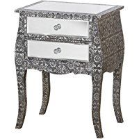 French Vintage Style Silver Embossed Mirrored Glass LOW Two Drawer Bedside Table Lamp Table
