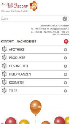 Responsive Webdesign für Apotheke - Die eigene Gesundheit, ausführliche Informationen und der schnelle Zugang zu spontan nötigen Infos wie Öffnungszeiten wurden von bocom und echonet für die Apotheke Niklasdorf in Form gebracht. http://www.echonet.at/de/projekte/364/Apotheke-Niklasdorf