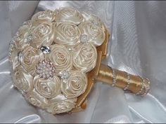 #1 DIY How to make Your Own Bridal Bouquet Brooch Fabric Flowers - YouTube